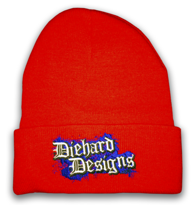 Diehard Designs™ Old English Embroidered Cuffed Knit Beanie