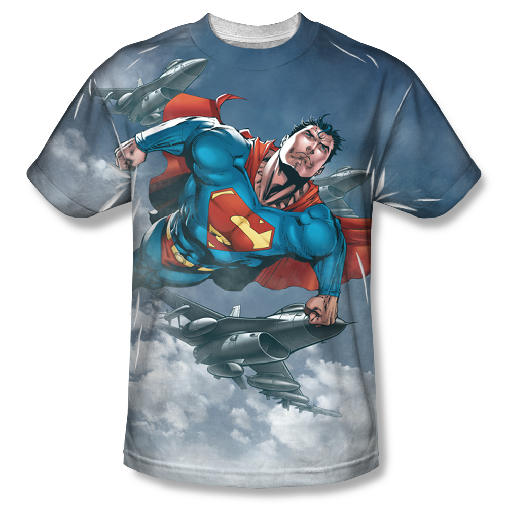 Superman In The Sky All Over T Shirt
