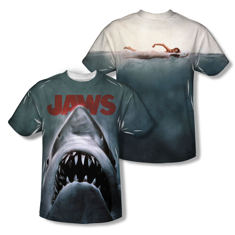 Jaws movie poster all over t shirt for All over dye sublimation t shirt printing