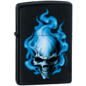 Blue Flame Skull Zippo Lighter