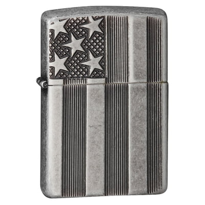 American Flag Deep Carved Antique Silver Plate Armor Zippo Lighter