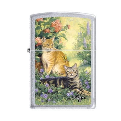 Pickin's Purrfect Cats - Satin Chrome Finish - Zippo Lighter