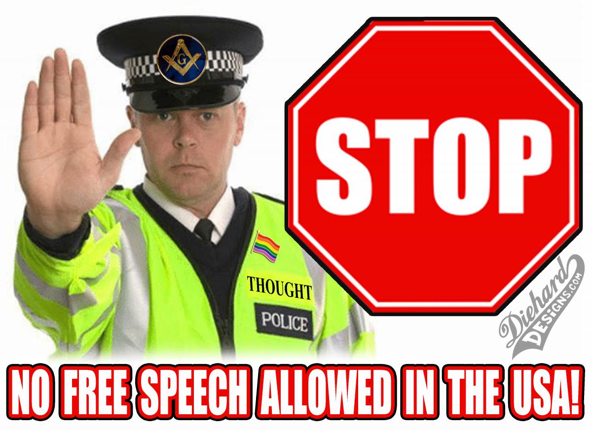 STOP - No Free Speech Allowed In The USA - Police State - Diehard Designs MEME