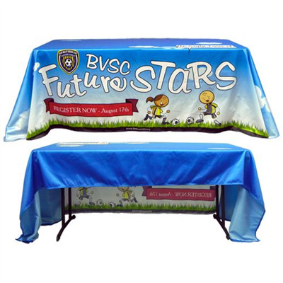 Custom Full Color Fabric Table Cover 3 Sided Free Ground Shipping